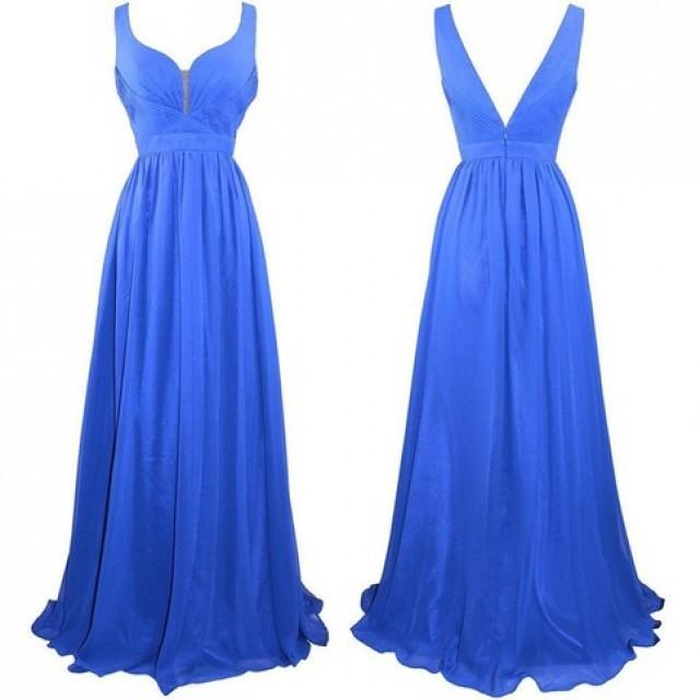 wedding photo - Long Empire Chiffon Prom Dress -- Royal Blue A-Line Straps from Dressywomen