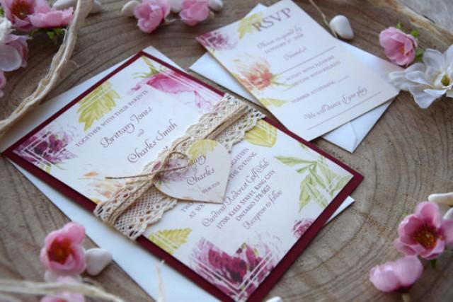 wedding photo - Watercolor Wedding Invitation, Burgundy Wedding Invite, Lace Floral Wedding Invitation, Romantic Rustic Spring Wedding Invite - SAMPLE