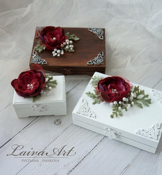 wedding photo - Wedding Ring Bearer Box Gold Wedding Ring Bearer Pillow Alternative Burgundy Wedding Ring Bearer Box Wedding
