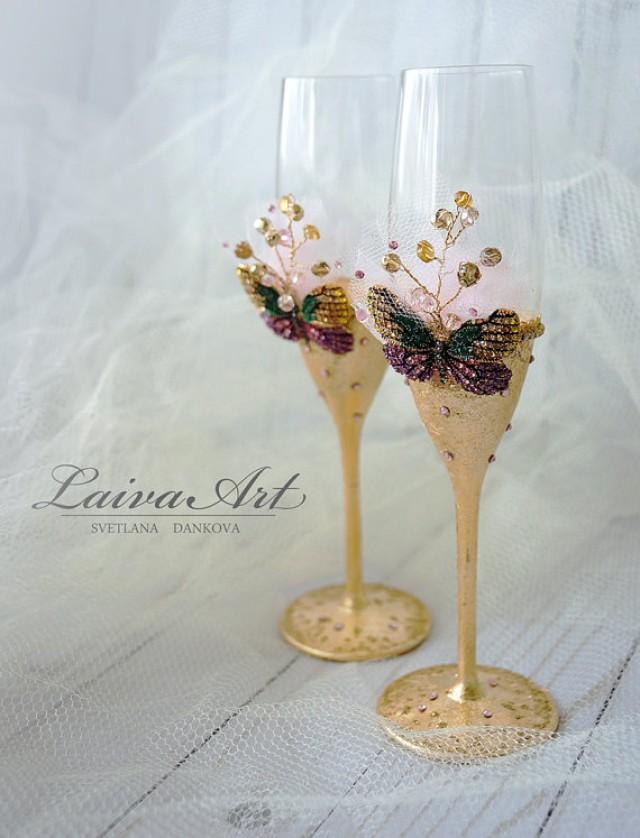 wedding photo - Gold Wedding Champagne Flutes Wedding Champagne Glasses Wedding Decoration Bride and Groom Wedding Glasses