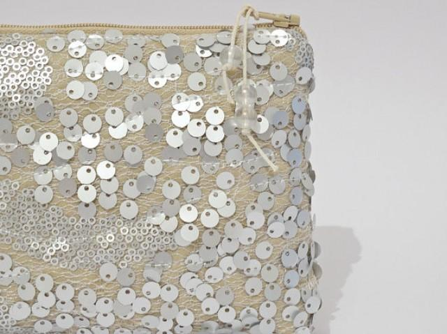 wedding photo - Glitter Sequin Clutch, Bride To Be Purse, Silver Gold Sequins Nude Purse, Glam Bridal Party Clutch