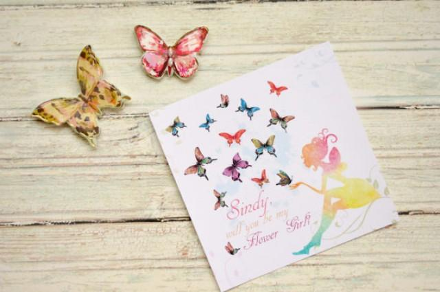 wedding photo - Will you be my Flower Girl , Butterfly  , Flower girl proposal, Flower girl gift, Fairy card, Be my flower girl