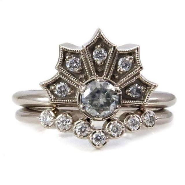 Modern Art Deco Engagement Ring Set