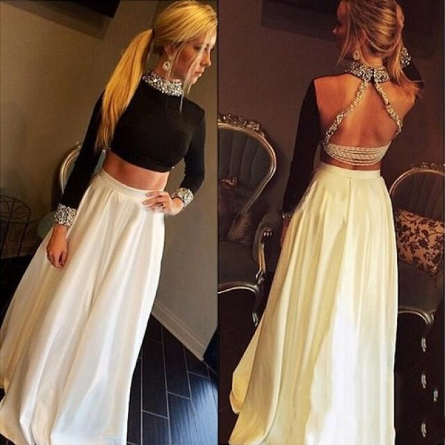 wedding photo - Fashion High Neck Long Sleeves Two Pieces Prom Dress Party Gown from Dressywomen
