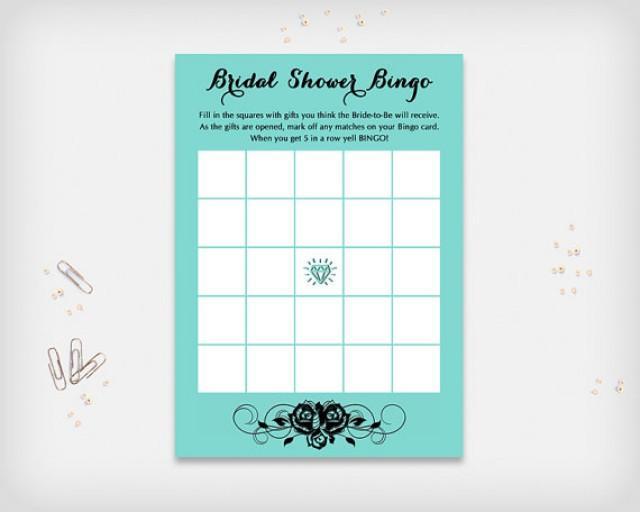 "wedding photo - Bridal Shower Bingo Game Card, Turquoise with Black Rose Design, 7x5"" - Digital File, DIY Print - Instant Download"