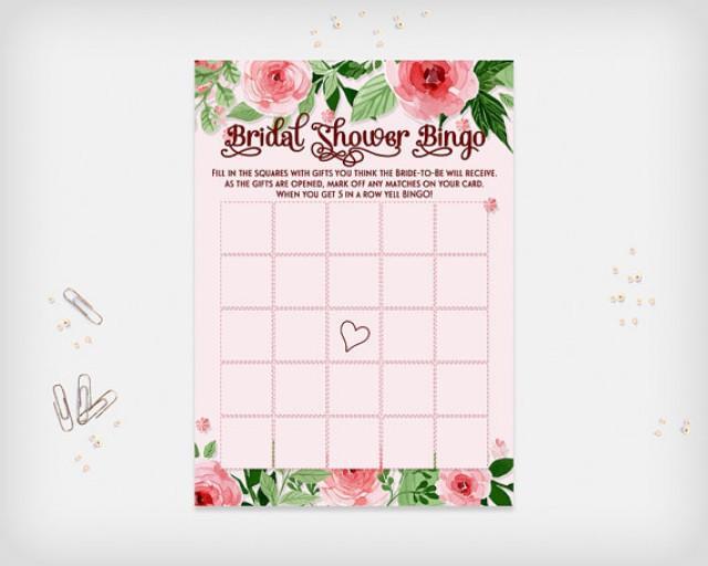 "wedding photo - Bridal Shower Bingo Game Card, Pink Flowers Design, 7x5"" - Digital File, DIY Print - Instant Download"