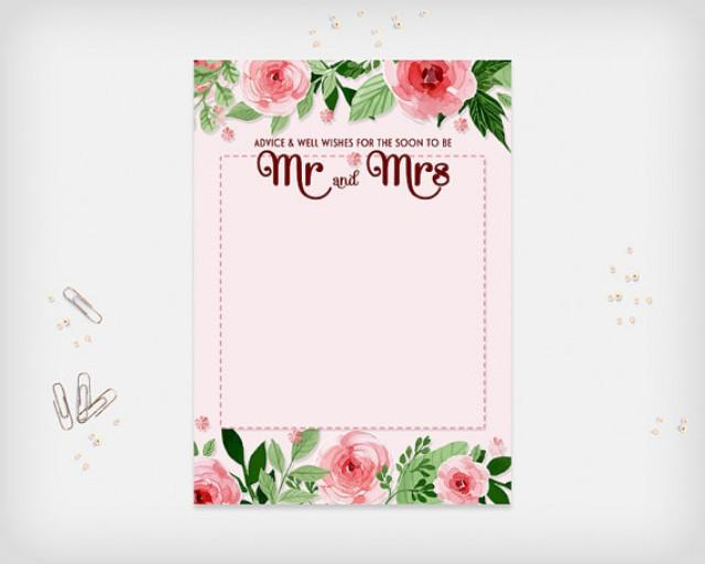 """wedding photo - Bridal Shower Advice & Well Wishes Card, Pink Flowers Design, 7x5"""" - Digital File, DIY Print - Instant Download"""