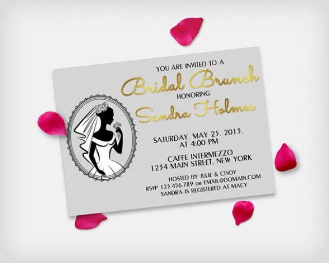 "wedding photo - Bridal Brunch / Bridal Shower Invitation Card, Bride Silhouette Silver & Gold, 5x7"" - Digital File, DIY Print"