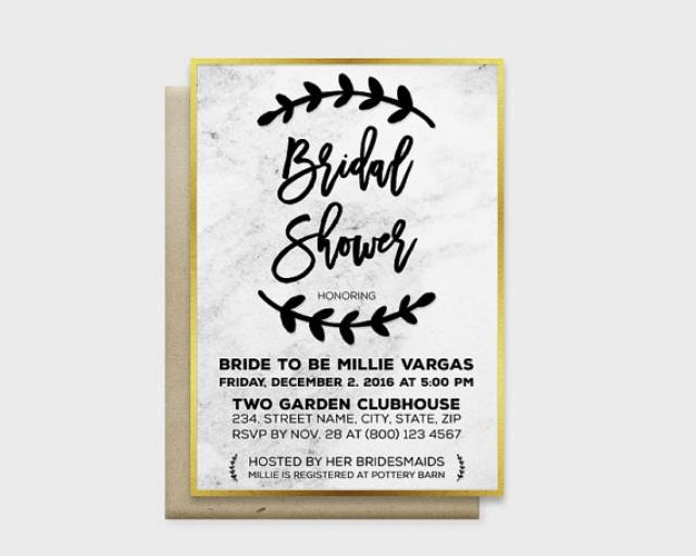 """wedding photo - Modern Marble Bridal Shower Invitation Card, Marble Background with Gold or Silver Edge, 5x7"""" - Digital File, DIY Print"""