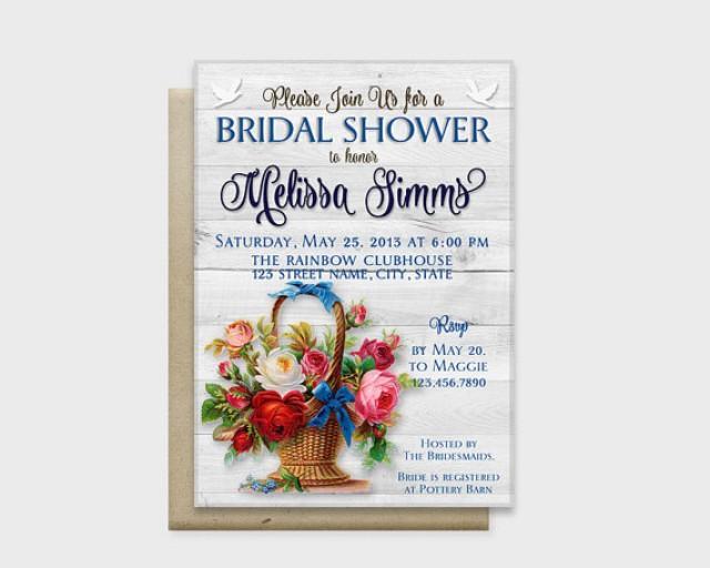 "wedding photo - Rustic Chic Bridal Shower Invitation Card, Wood Background with Stylish Flowers, Blue, 5x7"" - Digital File, DIY Print"