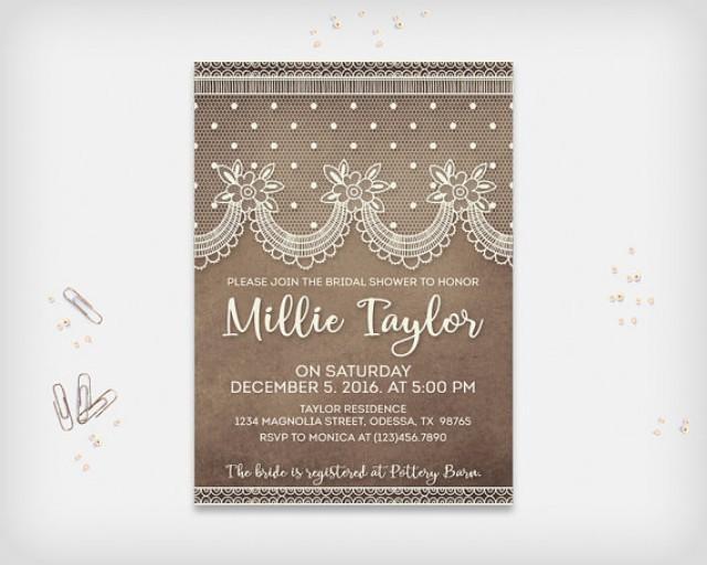"wedding photo - Vintage Lace Bridal Shower Invitation Card, Vintage Dark Brown with Cream Lace, 5x7"" - Digital File, DIY Print"
