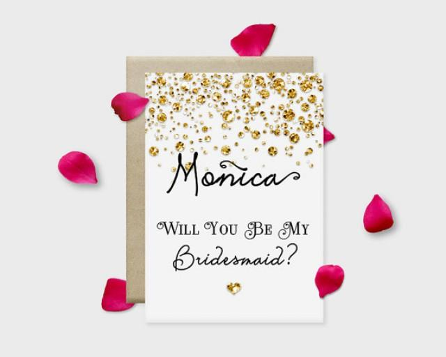 """wedding photo - Will you be my bridesmaid? Printable Proposal Card, Confetti Glitters: Gold, Silver, Pink or Blue, 5x7"""" - Digital File, DIY Print"""