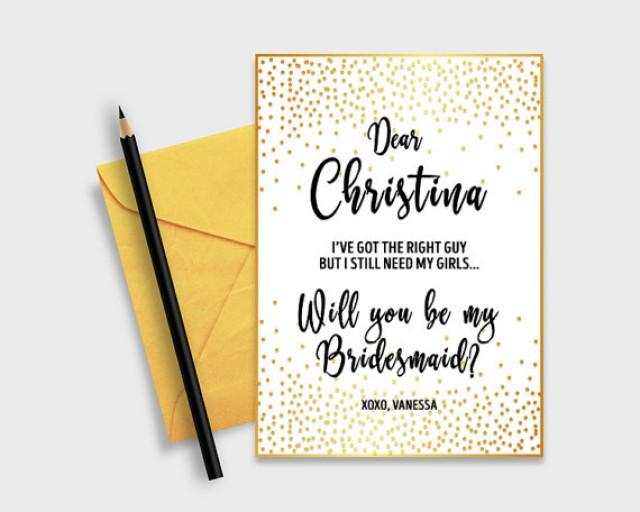 "wedding photo - Will you be my bridesmaid? Printable Proposal Card, Gold Confetti, 5x7"" - Digital File, DIY Print"