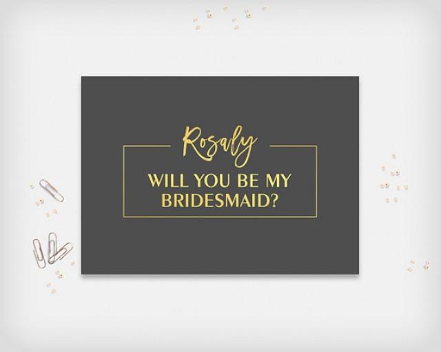 """wedding photo - Will you be my Bridesmaid? Maid of Honor, Matron of Honor, Printable Proposal Card, Graphite and Gold, 5x7"""" - Digital File, DIY Print"""