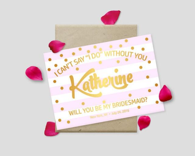 """wedding photo - Printable Proposal Cards, Gold Polkadots on Striped Background, 7x5"""" - Will you be my bridesmaid? Maid of Honor? - Digital File, DIY Print"""