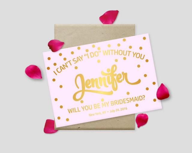 """wedding photo - Printable Proposal Cards, Gold Polkadots on Pink Background, 7x5"""" - Will you be my bridesmaid? Maid of Honor? - Digital File, DIY Print"""