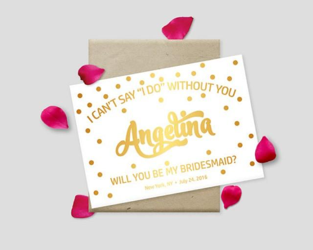 """wedding photo - Printable Proposal Cards, Gold Polkadots on White Background, 7x5"""" - Will you be my bridesmaid? Maid of Honor? - Digital File, DIY Print"""