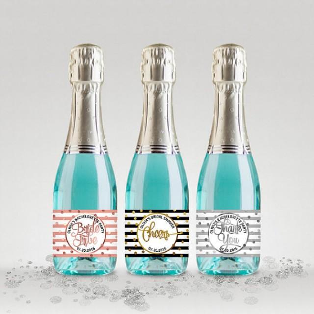 wedding photo - Bridal Shower Party Mini Champagne Bottle Labels, Customized - Black-White-Gold, Silver or Rose, Mini Labels - DIY Print, Printable PDF