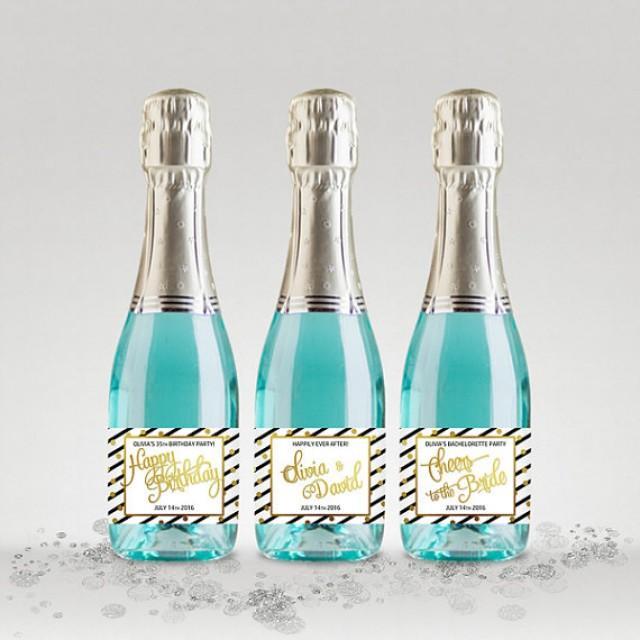 wedding photo - Custom Champagne Bottle Labels, Black-White-Gold, Full or Mini Labels - Bridal Shower, Wedding, Anniversary etc. - DIY Print, Printable PDF