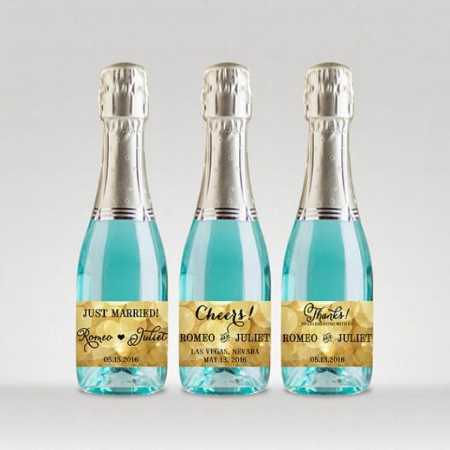 wedding photo - Party Favor Champagne Bottle Labels, Customized - Wedding, Engagement, etc - Sparkle Gold, Full or Mini Labels - DIY Print, Printable PDF