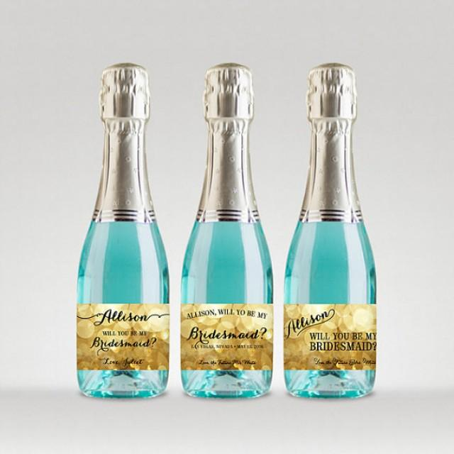 wedding photo - Will You Be My Bridesmaid? Customized Champagne Bottle Labels, Ask Bridesmaid - Sparkle Gold, Full or Mini Labels - Printable PDF