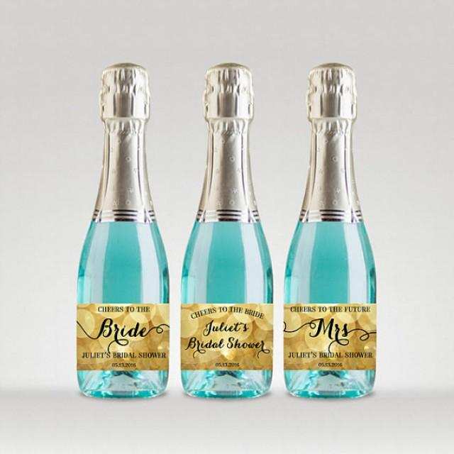 wedding photo - Bridal Shower Party Champagne Bottle Labels, Customized - Sparkle Gold, Full or Mini Labels - DIY Print, Printable PDF