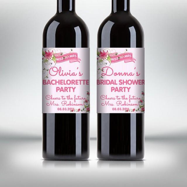 wedding photo - Bridal Shower Party Wine Bottle Labels, Customized - Bachelorette Party - Flower Style Wine Labels - DIY Print, Printable PDF