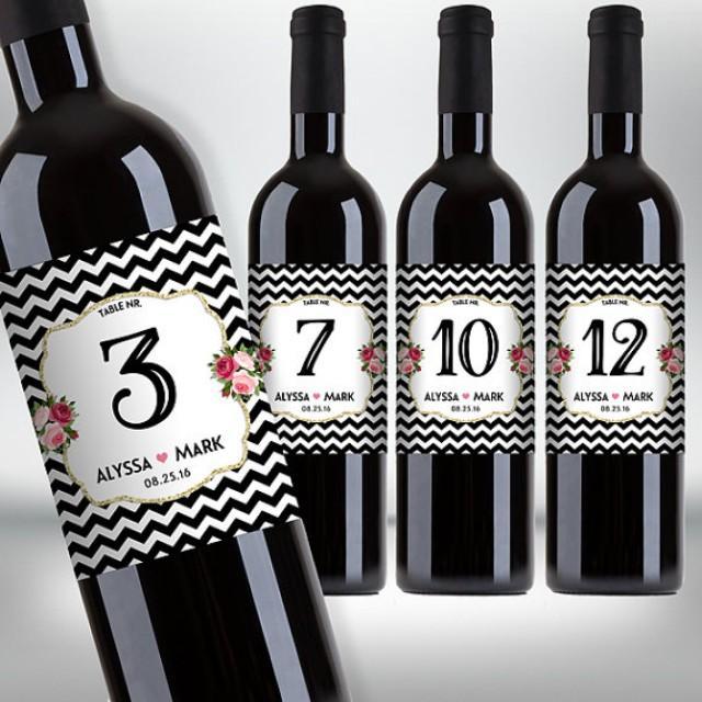 wedding photo - Customized Wine Bottle Table Numbers, Black & White Chevron Wine Labels - Wedding, Anniversary, Engagement Party etc. - Printable PDF