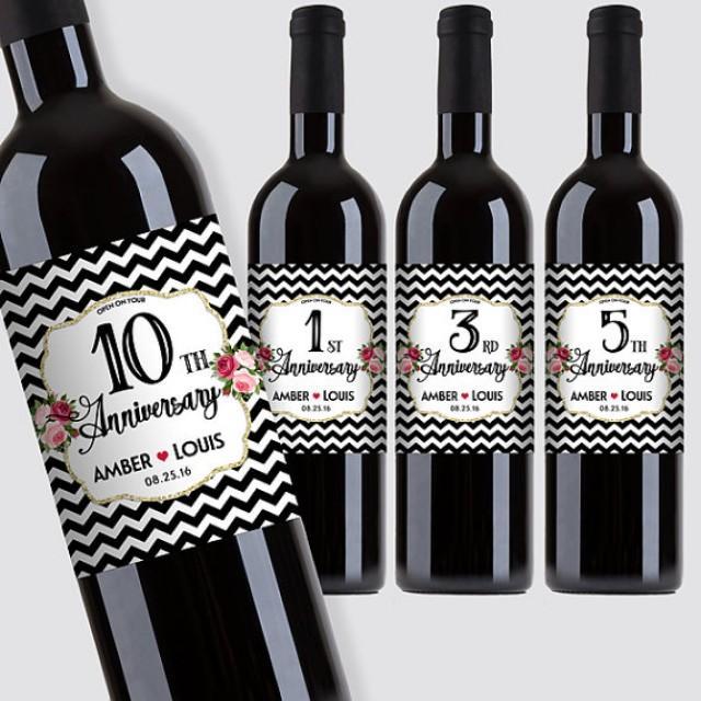 wedding photo - Custom Marriage Milestones, Anniversary Wine Bottle Label Set - Black & White Chevron Wine Labels (Set of 4) - DIY Print, Printable PDF