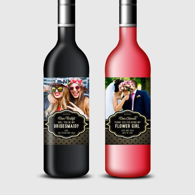 wedding photo - Will You Be My Bridesmaid? Maid of Honor, etc., Custom Photo Wine Bottle Labels - Ask Bridesmaid - Printable PDF, DIY Print