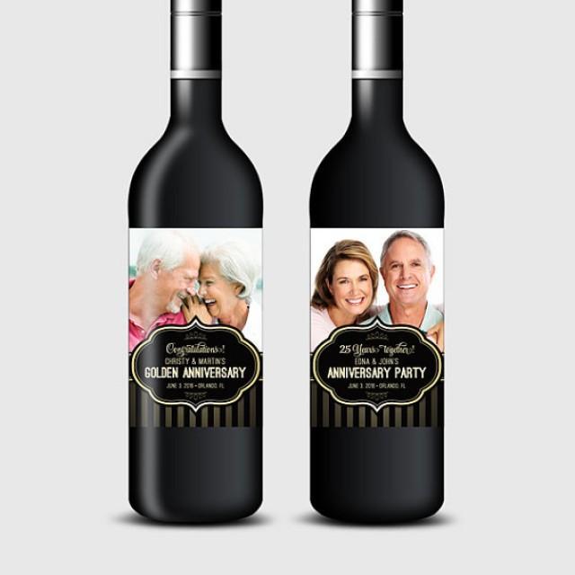 wedding photo - Custom Photo Wine Bottle Labels for Anniversary or Wedding Party, Black & Gold - Printable PDF, DIY Print