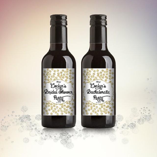 wedding photo - Bridal Shower Mini Wine Bottle Labels, Customized Party Favors - Gold Glitter Polka Dots, Mini Wine Labels - DIY Print, Printable PDF