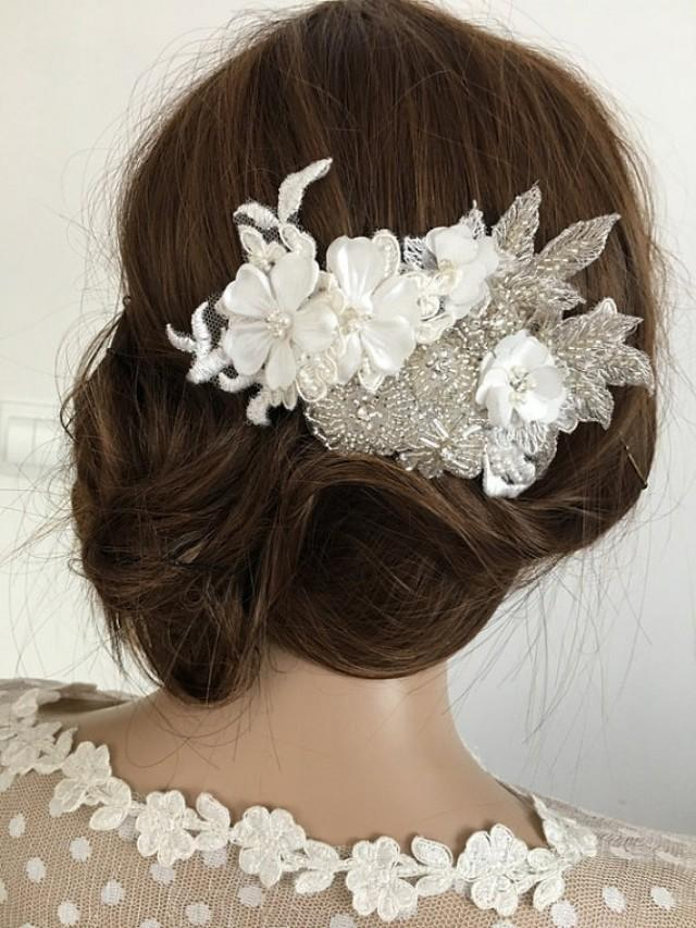 wedding photo - Bridal Lace Hair Comb, Rhinestone 3D Floral Wedding Headpiece, Ivory pearl Comb, Wedding Hair comb, Bridal Hair, Accessories