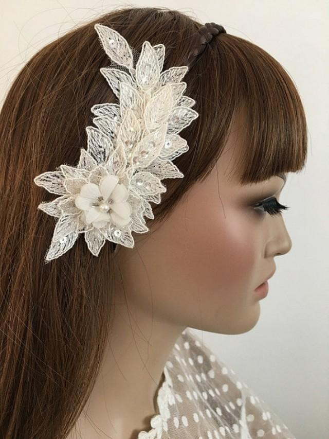 wedding photo - FREE SHIP Bridal Lace Hair Comb, Floral Wedding Headpiece, Bridal Lace Fascinator, Ivory pearl Comb, Wedding Hair, Bridal Hair,