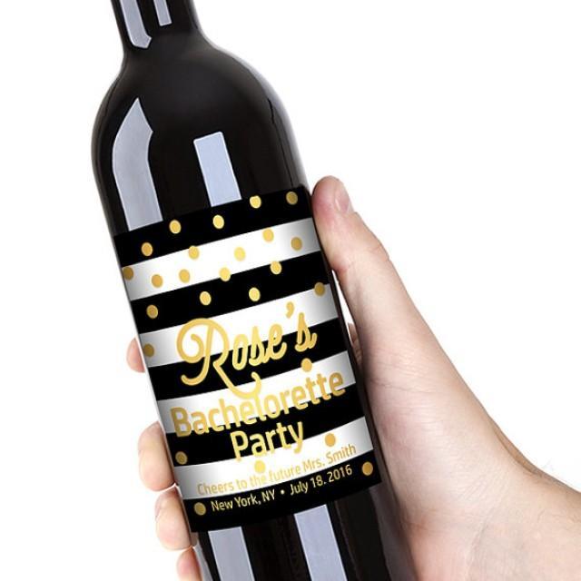 wedding photo - Bachelorette Party Wine Bottle Labels, Customized - Bridal Shower, Black-White Stripes & Gold Dots - DIY Print, Printable PDF