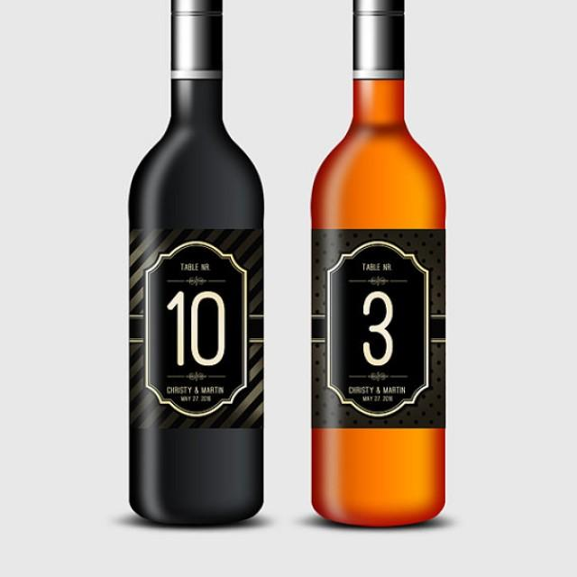 wedding photo - Vintage Style Gold & Black Wine Bottle Labels, Table Numbers - Birthday, Wedding, Anniversary, Engagement Party etc. - Printable PDF