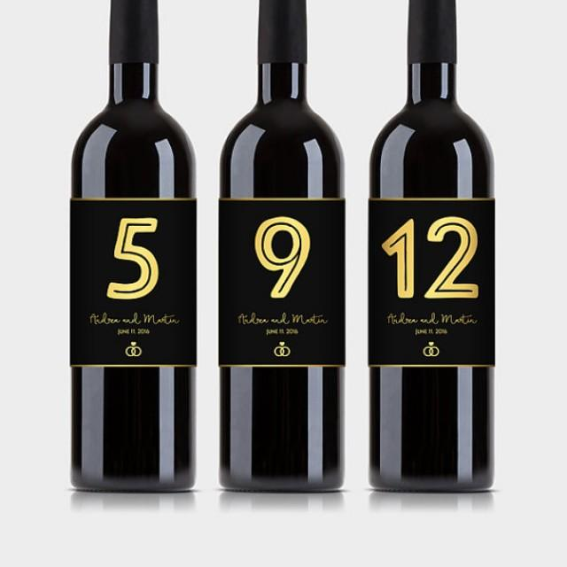 wedding photo - Customized Wine Bottle Table Numbers, Black & Gold Wine Labels - Wedding, Anniversary, Engagement Party etc. - Printable PDF