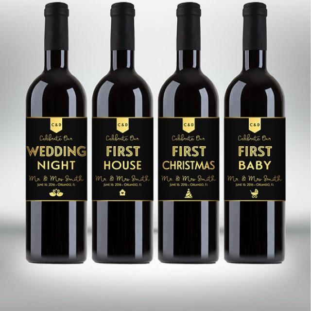 """wedding photo - Custom """"First"""" Marriage Milestones, Wine Bottle Label Set - Newlyweds Gift - Engagements, Bridal Showers - Black & Gold - Printable PDF"""