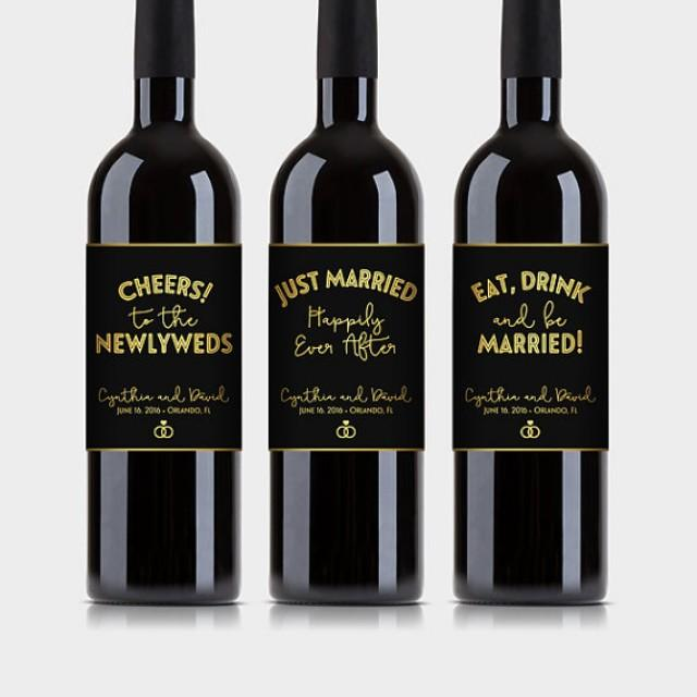 wedding photo - Wedding Party Wine Bottle Labels, Customized - Elegant Black & Gold - Printable PDF, DIY Print