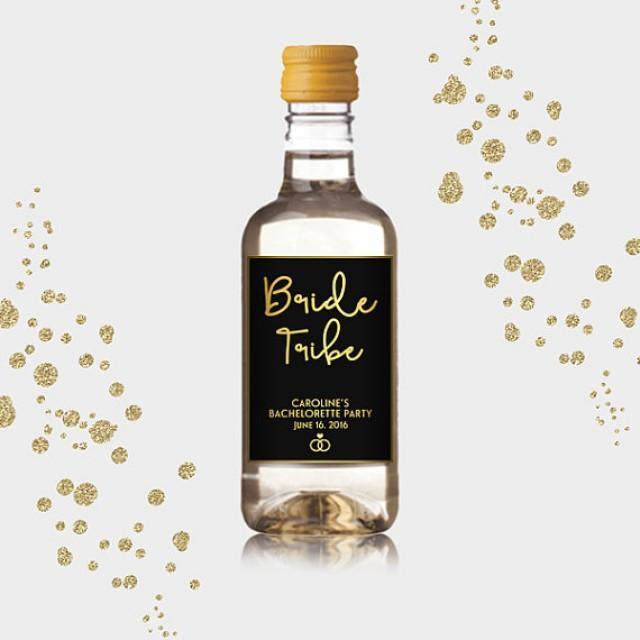 wedding photo - Bride Tribe Mini Wine Bottle Labels, Customized Party Favors - Gold & Black, Mini Wine Labels - DIY Print, Printable PDF
