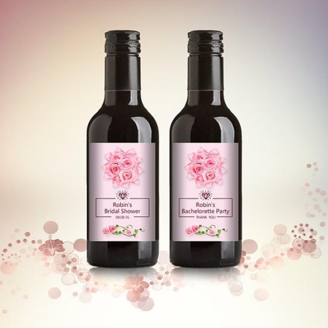 wedding photo - Bridal Shower Party Favor Mini Wine Bottle Labels, Customized - Pink Rose Mini Wine Labels - DIY Print, Printable PDF