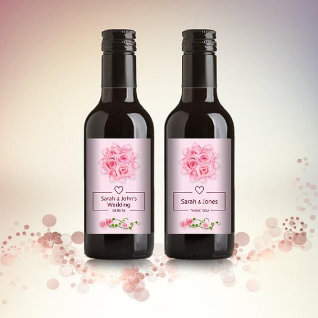 wedding photo - Wedding, Engagement Party Favor Mini Wine Bottle Labels, Customized - Pink Rose, Mini Wine Labels - DIY Print, Printable PDF