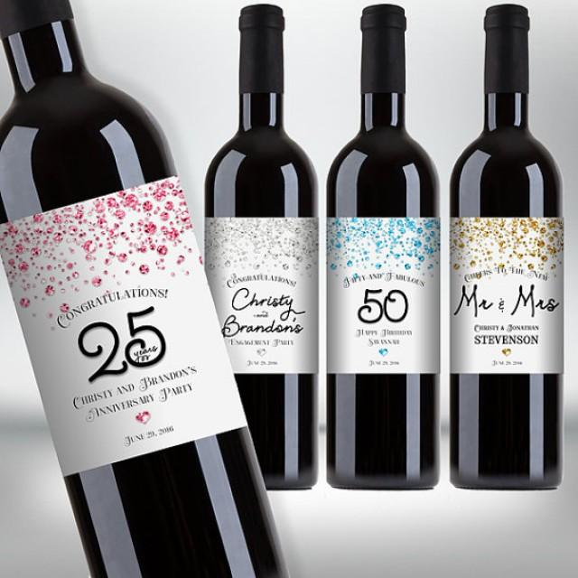 wedding photo - Customized Confetti Glitter Wine Bottle Labels - Engagement, Wedding, Anniversary, Birthday Party - DIY Print, Printable PDF