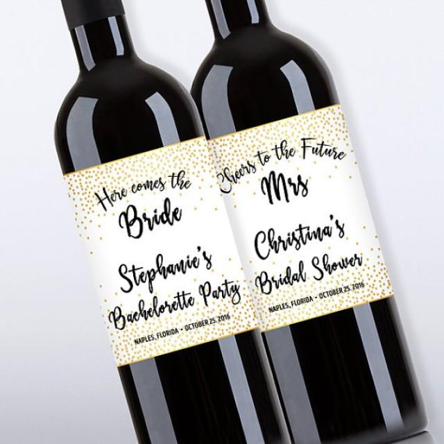 wedding photo - Bridal Shower Wine Bottle Labels, Customized - Bachelorette Party, Gold Confetti - DIY Print, Printable PDF