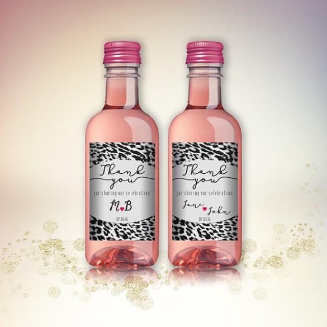 wedding photo - Party Favor Mini Wine Bottle Labels, Customized - Wedding, Engagement - Leopard Animal Pattern, Mini Wine Labels - DIY Print, Printable PDF