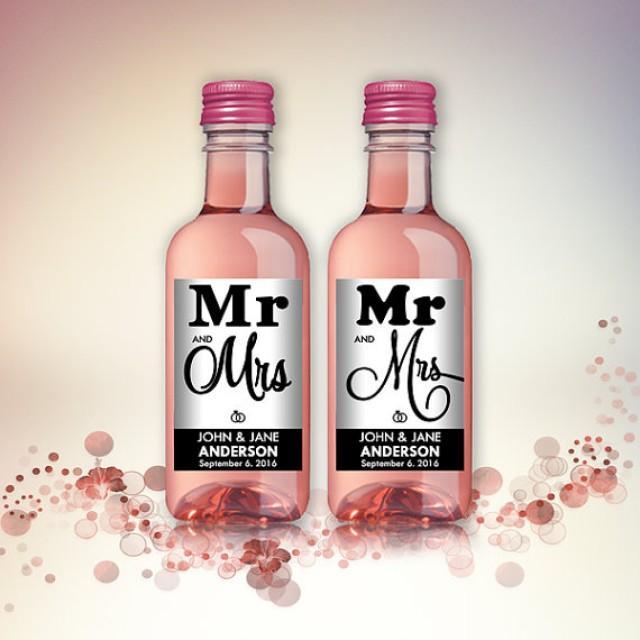 wedding photo - Wedding Party Favor Mini Wine Bottle Labels, Customized - Wedding, Engagement - Black and White, Mini Wine Labels - DIY Print, Printable PDF