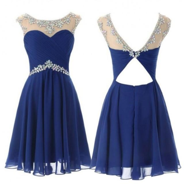 wedding photo - Hot Selling Royal Blue Cocktail/Homecoming Dress With Beaded on Luulla