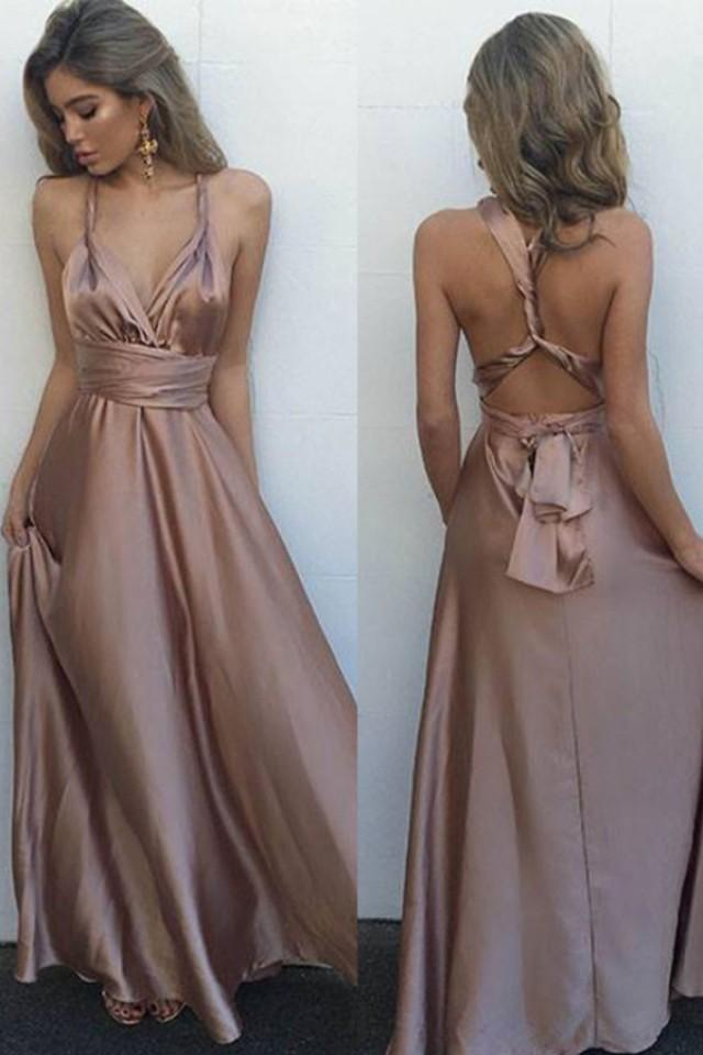 wedding photo - Simple V-Neck Sleeveless Floor Length Criss-Cross Straps Blush Prom Dress with Pleats