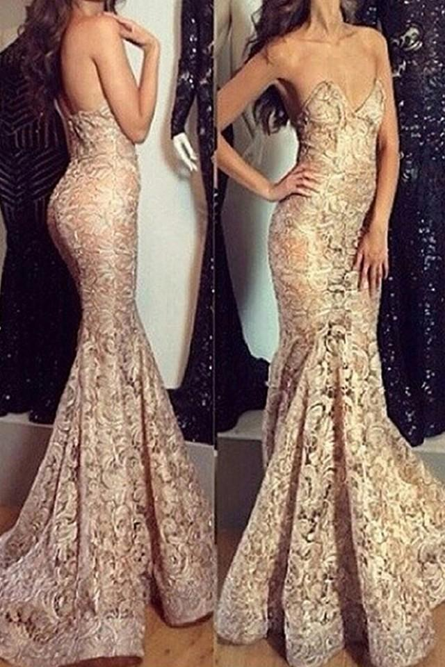 wedding photo - Glamorous Sweetheart Sleeveless Sweep Train Lace Champagne Mermaid Prom Dress