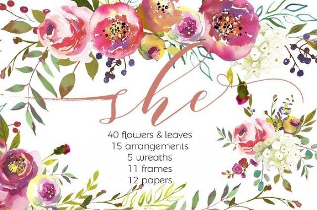 wedding photo - She-Watercolor Floral Design Set